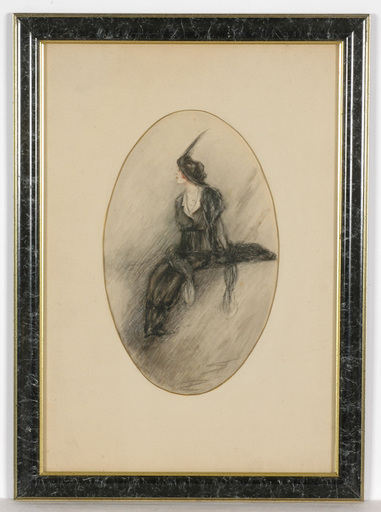 "Dora WAHLROOS - Dibujo Acuarela - ""Fashionable lady"", drawing"