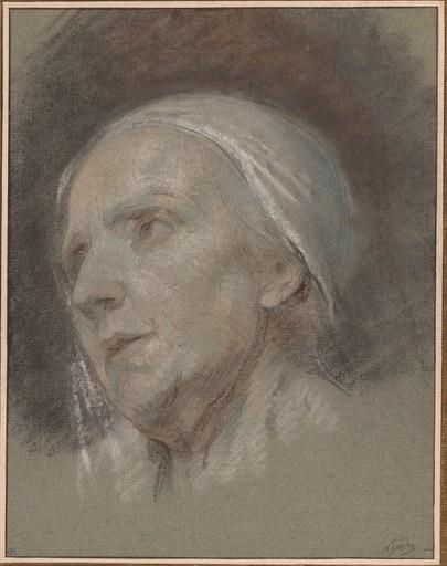 Nicolas Bernard LÉPICIÉ - Drawing-Watercolor - Tête de femme âgée