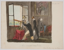 "Karl VESQUE VON PÜTTLINGEN - Drawing-Watercolor - ""Watching through Telescope"", Watercolor, 1825"
