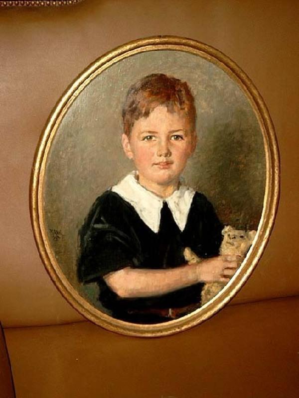 Richard SCHOLZ - Painting - Junger Knabe mit Teddybär.
