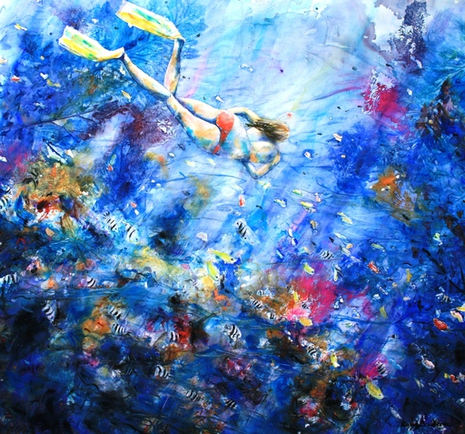 Roger BOUBENEC - Dessin-Aquarelle - sirène d'aujourd'hui