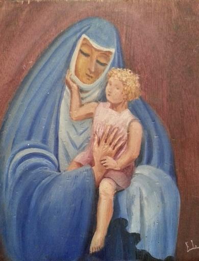 Elie LASCAUX - Pintura - Vierge à l'enfant