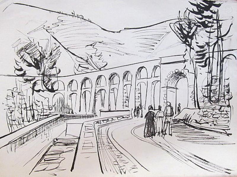 Erich HARTMANN - Dessin-Aquarelle - #19944: Aquädukt auf Ischia.