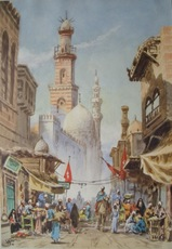 Edwin Lord WEEKS - Dessin-Aquarelle - Busy Arab street