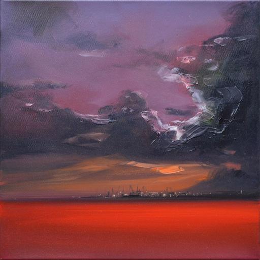Sigrid NIENSTEDT - Painting - Dunkle Wolke über Hafen
