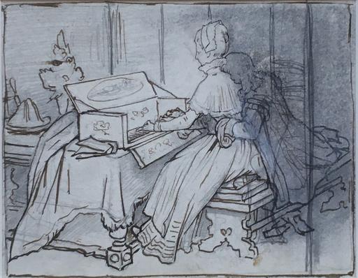 Gabriel Cornelius VON MAX - Disegno Acquarello - Stilleben (Am Spinett)