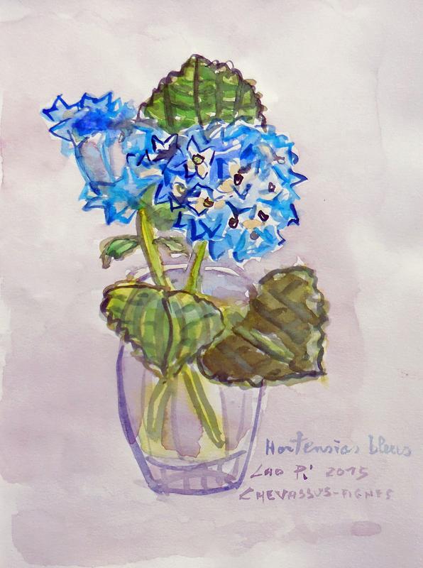 Jean-Pierre CHEVASSUS-AGNES - Dessin-Aquarelle - HORTENSIAS bleus de mon jardin