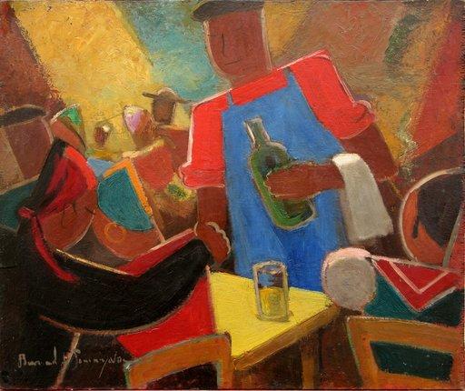 "Bernard DE SOMMYEVRE - Peinture - ""LE BAR ESPAGNOL"""