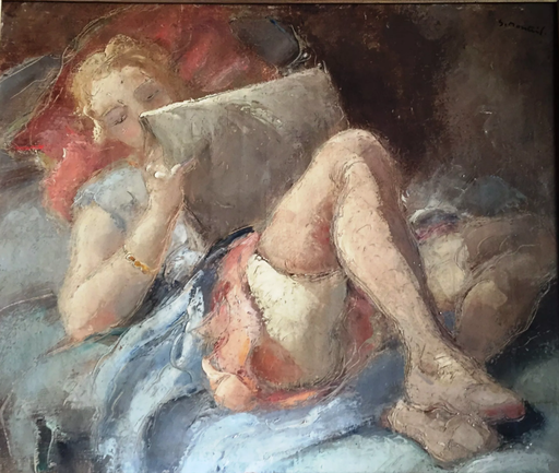 Jacque MONTEIL - Painting - femme à la lecture