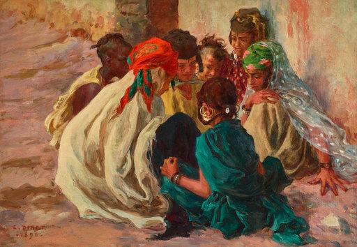 Etienne Alphonse DINET - Peinture - Les Bavards à Bou Saâda