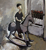 Ramaz ROSTOMASHVILI - Painting - Boy on rocking horse