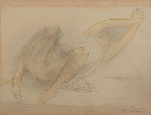 Auguste RODIN - Disegno Acquarello - Femme étendue s'étirant