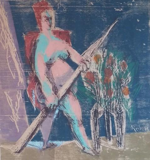 Bernhard REDER - Zeichnung Aquarell - Standing Nude