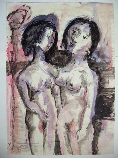Jean Marie GOUTTIN - Dessin-Aquarelle - Deux amies