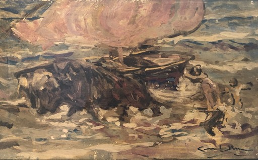 Angel GONZALEZ MARCOS - Painting - Bueyes sacando la barca