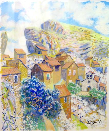 René Gaston LAGORRE - Dessin-Aquarelle - Village de Montagne