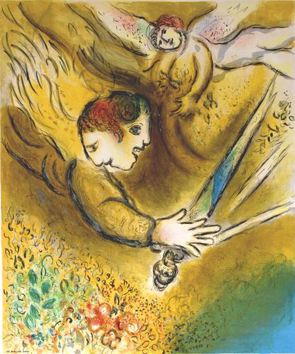 Marc CHAGALL - Estampe-Multiple - The Angel of Judgement | L'Ange du jugement