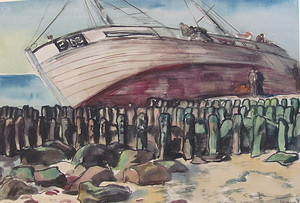 Paul MECHLEN - Drawing-Watercolor - Gestrandetes Schiff am Sylter Strand.