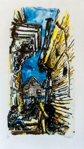 Chaim GROSS - Druckgrafik-Multiple - New England Street Scene