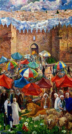 Victor BRINDATCH - Peinture - Damascus Gate, Mark Twain, Jerusalem