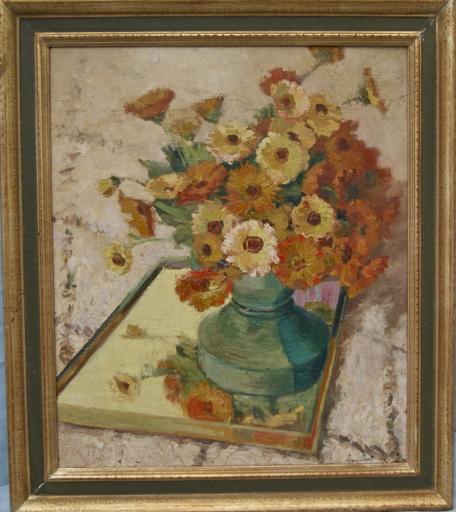 Lina PAVIL - Painting - Les soucis. Fleurs dans un vase.