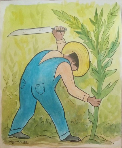 Diego RIVERA - Drawing-Watercolor - Cortador de Maíz