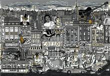 Charles FAZZINO - Estampe-Multiple - Harlem all that jazz