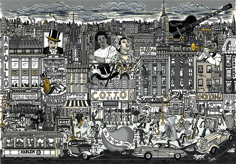 Charles FAZZINO - Print-Multiple - Harlem all that jazz
