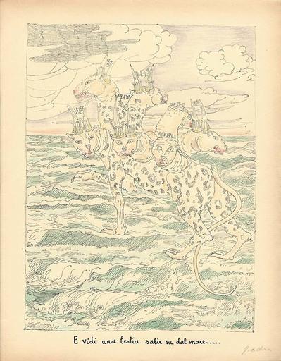 乔治•德•基里科 - 版画 - E vidi una bestia salir su dal mare.. 1941