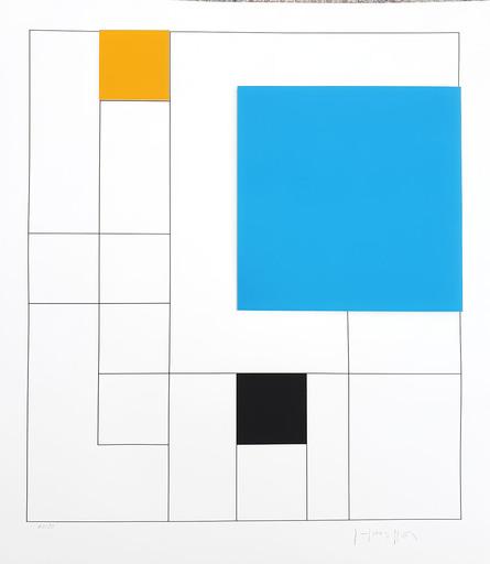 Gottfried HONEGGER - Estampe-Multiple - Composition 3 carrés 3D (bleu, orange, noir)