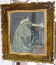 Paul VON SZINYEI-MERSE - Drawing-Watercolor - Woman in front of mirror