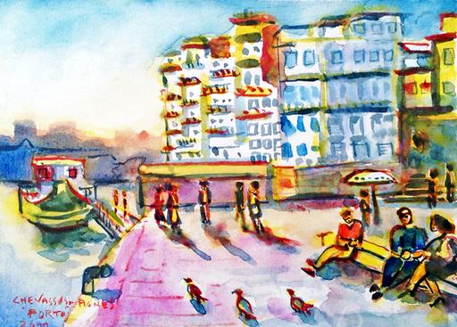 "Jean-Pierre CHEVASSUS-AGNES - Dessin-Aquarelle - PORTO ( Portugal ) quartier de  "" la Ribeira """