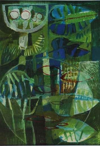 Giuseppe DE GREGORIO - Peinture - Giardino con vaso di pesci rossi