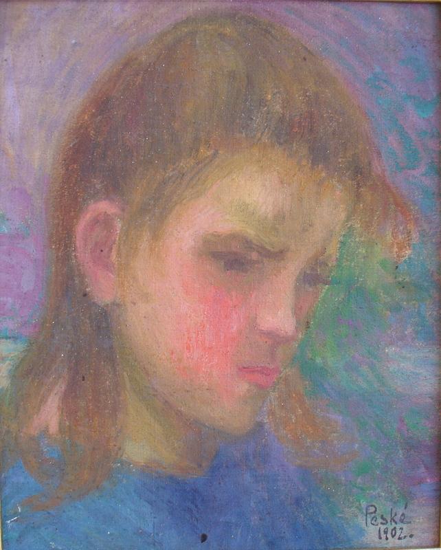Jean PESKÉ - Gemälde - Portrait de jeune femme