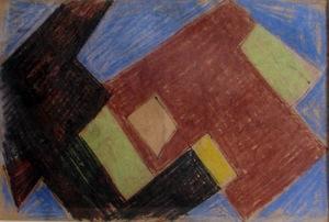 André BLOC - Dessin-Aquarelle - Composition II