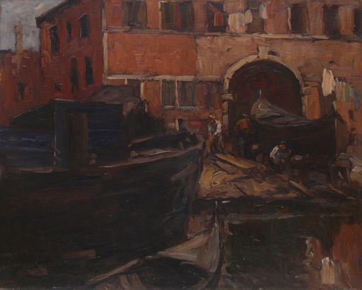 Leonhard SANDROCK - Painting - Venezianische Bootswerft