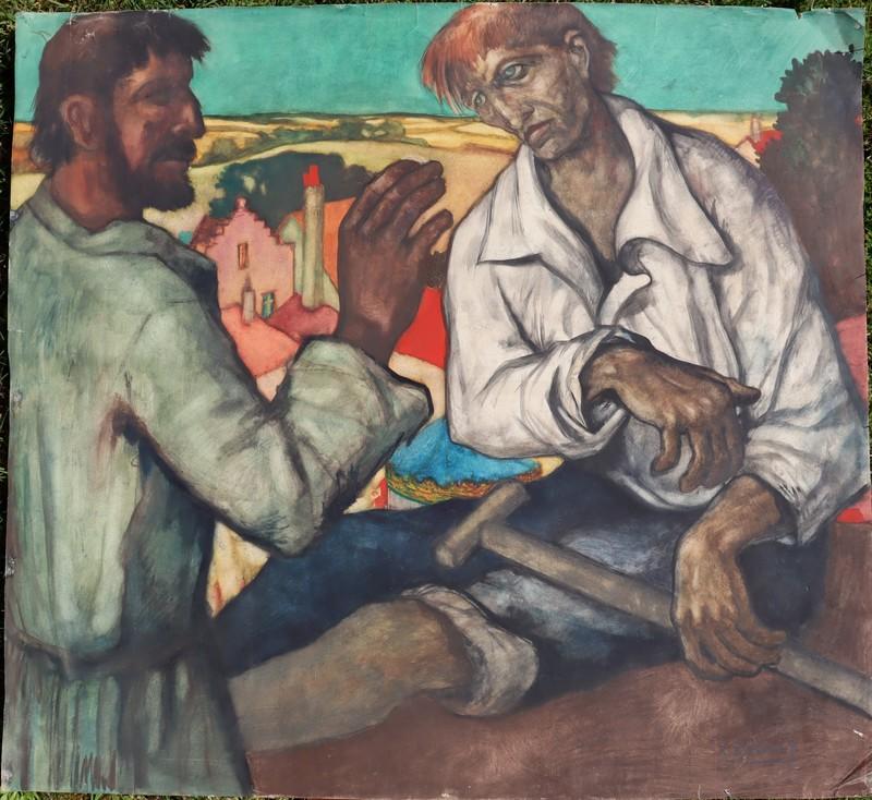 """Raymond DIERICKX - Drawing-Watercolor - """"LE CHRIST ET LE PARALYTIQUE/LANAVIGATION"""""""