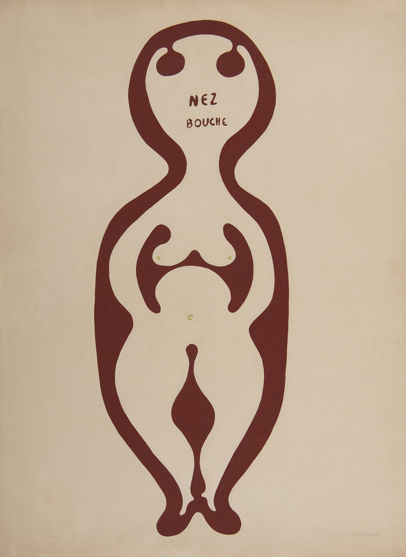 Victor BRAUNER - Drawing-Watercolor - Nez bouché