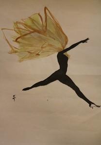 René GRUAU - Drawing-Watercolor - Figure féminine dansant avec un foulard, vers 1950