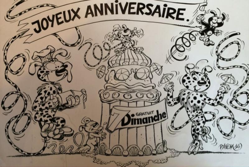 BATEM - Dessin-Aquarelle - Marsupilami en Famille