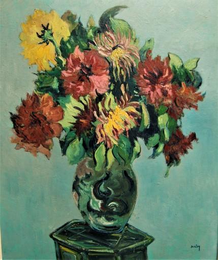 Georges AUBRY - Pittura - Bouquet de fleurs dans un vase.