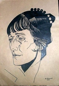 Youri Pavlovitch ANNENKOFF - Disegno Acquarello - Portrait of  poet Anna Akhmatova