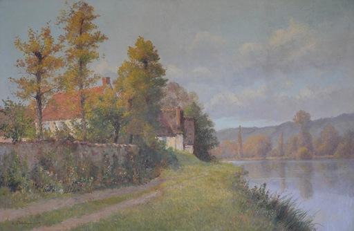 Eugène Jules DELAHOGUE - Pittura - Au Bord de La Rive