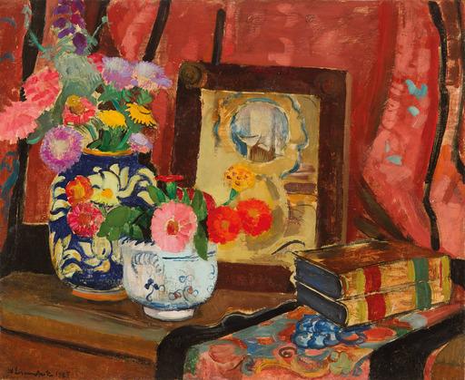 Willy EISENSCHITZ - Painting - Stillleben mit Büchern und Vase