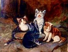 Charles II VAN DEN EYCKEN - Pintura - Vier Katzen mit Schmetterling,Four cats with butterfly