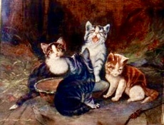 Charles II VAN DEN EYCKEN - Painting - Vier Katzen mit Schmetterling,Four cats with butterfly
