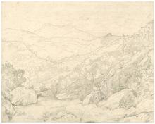 Johann Wilhelm SCHIRMER - Dibujo Acuarela - Blick zum Monte Guadagnolo und S. Vito, rechts Olevano.