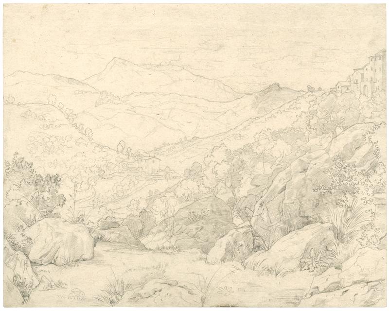 Johann Wilhelm SCHIRMER - Drawing-Watercolor - Blick zum Monte Guadagnolo und S. Vito, rechts Olevano.