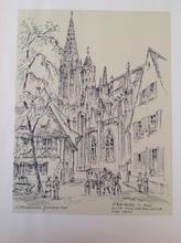 L. HEUBERGER-LAPORTE - Dibujo Acuarela - Freiburg im Brg alte Münsterbauhütte vor 1900