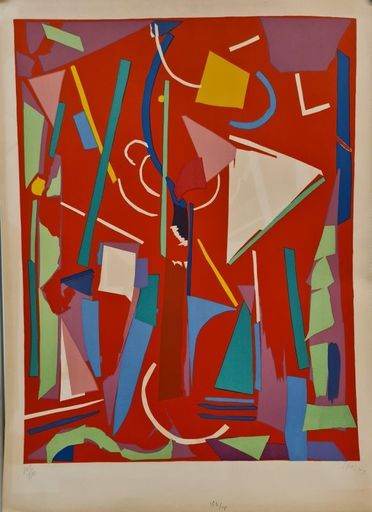 André LANSKOY - Estampe-Multiple - Composition sur fond Rouge